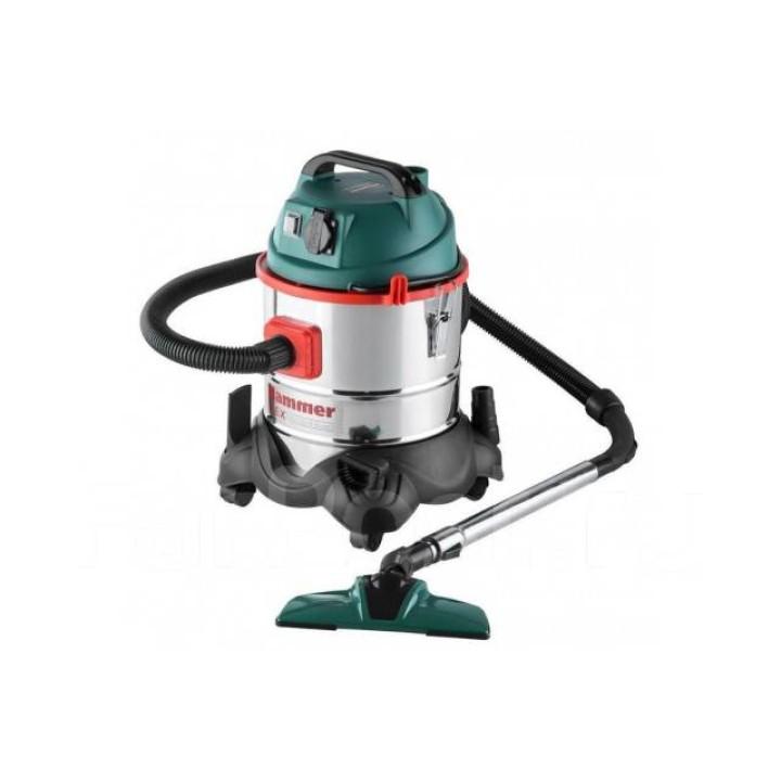 Пылесос Hammer Flex PIL20A для сух/влажной уборки 1400Вт 20л +розетка для электроинструмента