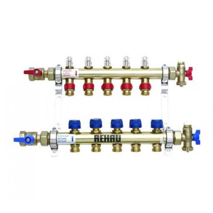 REHAU Распределительный коллектор HKV-D на 5 контуров (нерж. сталь)